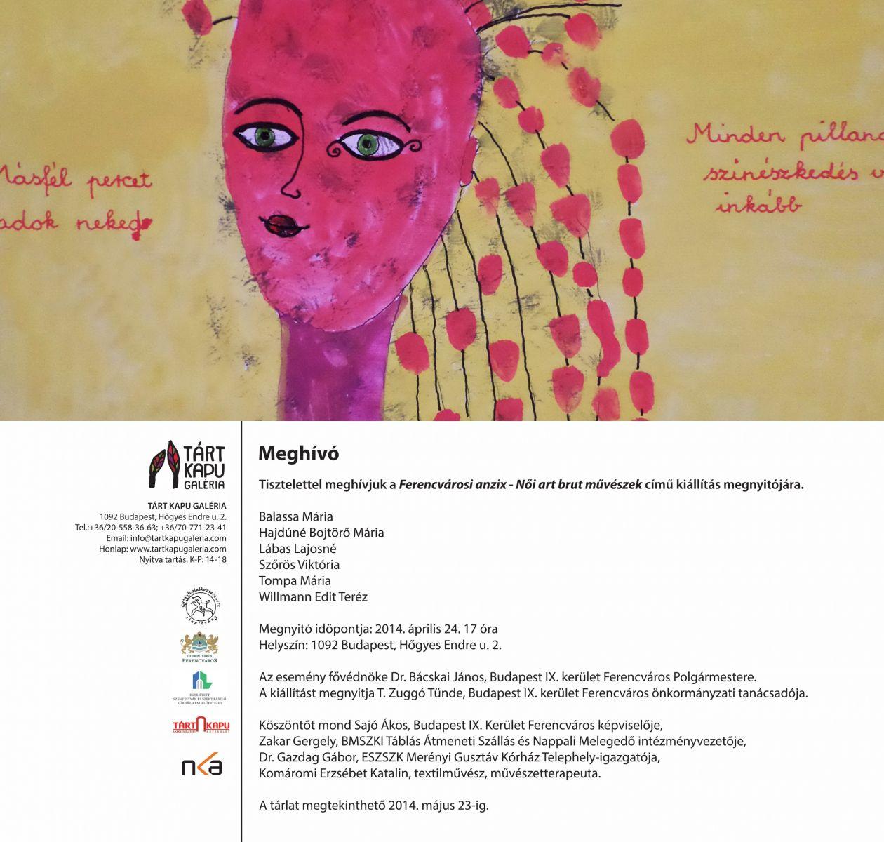 Meghívó-Ferencvárosi anzix - Női art brut művészek